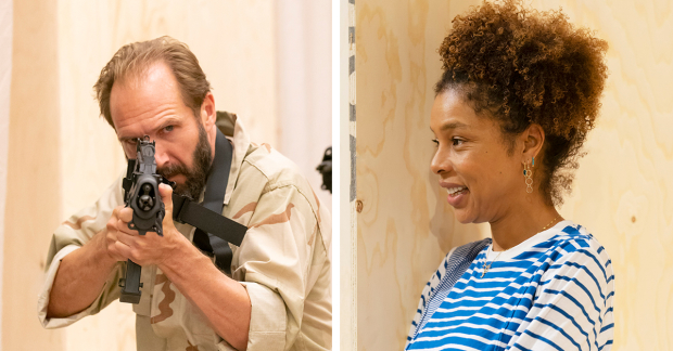 Ralph Fiennes and Sophie Okonedo in rehearsals for Antony and